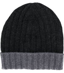barba ribbed knit beanie - grey