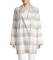 lafayette 148 new york women's malika striped linen-blend jacket - white combo - size s