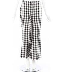 derek lam black white gingham flared pants black/white sz: xs
