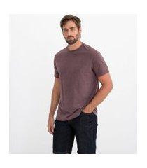 camiseta básica comfort fit em algodão peruano   marfinno   marrom   gg