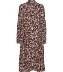 printed crepe jurk knielengte bruin ganni