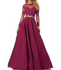 two piece prom dresses long sleeves, evening gown long,formal party dress