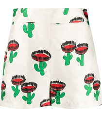 la doublej cactus print silk shorts - white