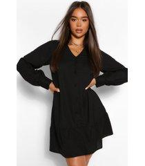 blouse jurk met knopen en losvallende zoom, zwart