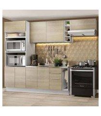 cozinha completa madesa stella 290002 com armário e balcão branco/saara cor:branco/saara