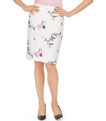 kasper embroidered floral skirt