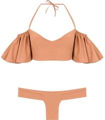 amir slama ruffled bikini set - neutrals
