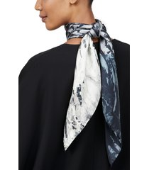 women's lafayette 148 new york diamond graphite print silk scarf, size one size - grey
