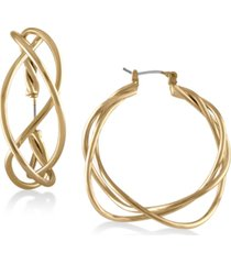 "rachel rachel roy gold-tone twisted 1-1/2"" wire hoop earrings"
