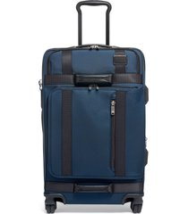 tumi merge 26-inch front lid recycled dual access 4-wheel packing case - blue