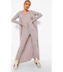 geribbelde jumpsuit met trektouwtjes en duster jas set, grey