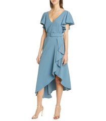 women's badgley mischka ruffle crepe cocktail dress