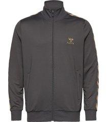 hmlnathan zip jacket sweat-shirt tröja grå hummel