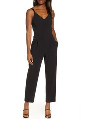 women's french connection anana whisper crop jumpsuit, size 10 - black