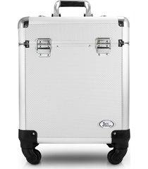 maleta profissional com rodinhas de 360º alumínio jacki design beauty prata - kanui