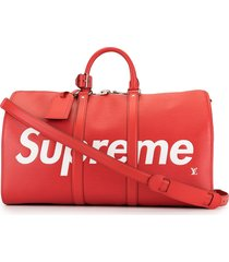 louis vuitton x supreme pre-owned keepall bandouliere 45 travel bag -