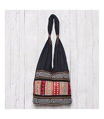 cotton shoulder bag, 'earth love' (thailand)