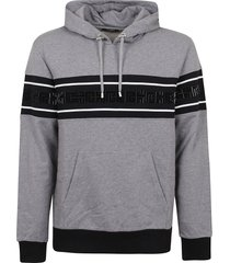 balmain bicolor monogram flock hoodie