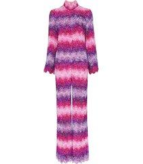 ashish x browns sequin embellished stripe jumpsuit - pink