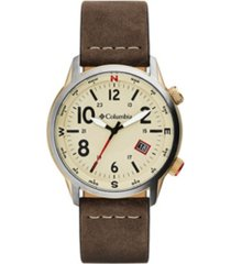 columbia men's outbacker brown leather strap watch 42mm