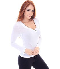 blusa sideral bordado manual off white