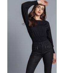 calça jeans jegging resinada preto reativo - lez a lez