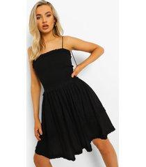 geplooide skater jurk met laagjes en strik, black