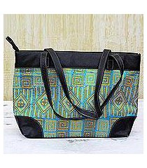 leather accented silk shoulder bag, 'alluring maze' (india)