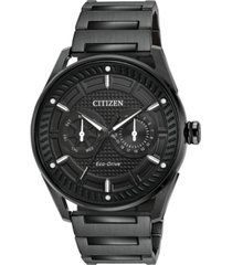 citizen drive from citizen eco-drive men's black stainless steel bracelet watch 42mm