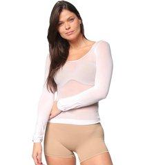 camisa selene segunda pele manga longa feminina - branco - feminino - dafiti