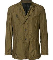 kent & curwen textured multi-pocket shirt jacket - green