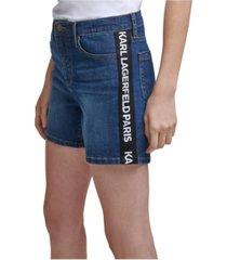 karl lagerfeld paris logo taping denim shorts