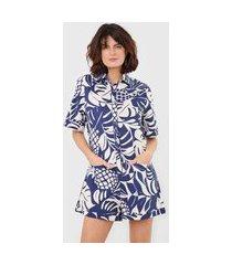 macaquinho dress to calmaria nalu off-white/azul-marinho