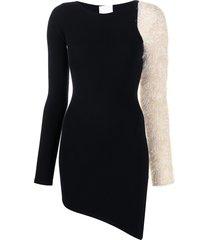 antonella rizza lurex-detail asymmetric dress - black