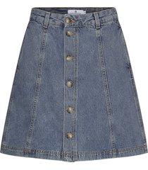 tilly denim knälång kjol blå arnie says