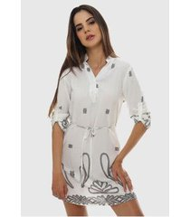 vestido floral arabesco curto sob em viscose com mangas feminino - feminino