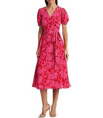 dorothy silk-printed puff-sleeve midi dress