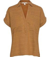 blouses woven blouses short-sleeved brun esprit casual