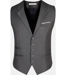 uomo gilet con colletto di stile formale business fashion slit fit in colore a tinta unita a taglia forte