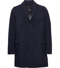 moore-3l mech stretch trenchcoat lange jas blauw j. lindeberg