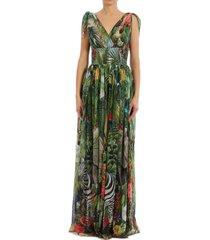 dolce & gabbana long dress jungle print