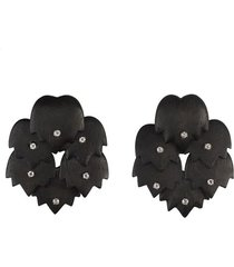 natori acacia wood with silver circular tulip clip earrings, women's