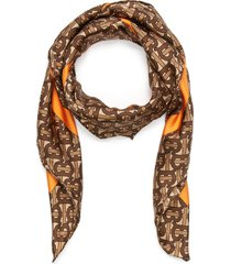 'tb monogram' print silk scarf
