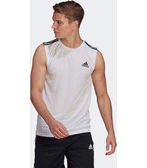 camiseta adidas regata esportiva aeroready designed to move 3-stripes branco