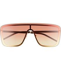 saint laurent 99mm flat front shield sunglasses in gold/orange gradient at nordstrom