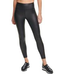 dkny sport women's high-waist faux-leather leggings
