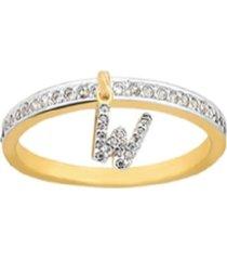 anel la madame co letra w dourada - tricae