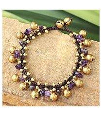 amethyst beaded bracelet, 'joyous bells' (thailand)