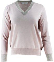 fabiana filippi v-neck long sleeve cotton sweater with lurex profile