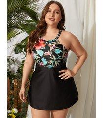 traje de baño sin mangas con diseño tropical sin espalda halter talla grande